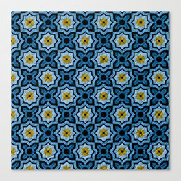 V6 Blue Traditional Moroccan Natural Leather - A4 Canvas Print