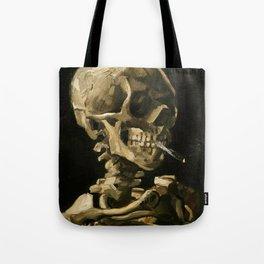 Skull Of A Skeleton With Burning Cigarette Tote Bag