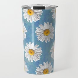 Daisy Blues - Daisy Pattern on Cornflower Blue Travel Mug