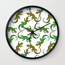 Decorative stylish white green shiny lizard pattern. Beautiful delicate colorful crawling lizards. Gift ideas for lizard lovers & herpetologist. Wall Clock