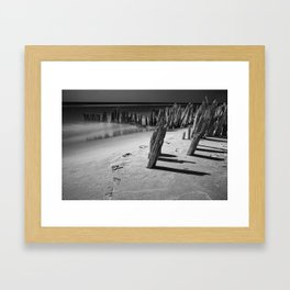 Trail of footprints on the beach at Kirk Park near Grand Haven on Lake Michigan Framed Art Print