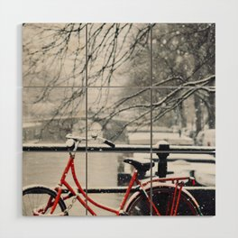 Red Bike in the Snow Wood Wall Art