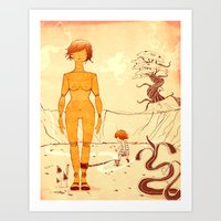 wooden Art Prints featuring Wooden by Kam Redlawsk