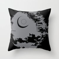 death star Throw Pillows featuring Death Star by Krakenspirit