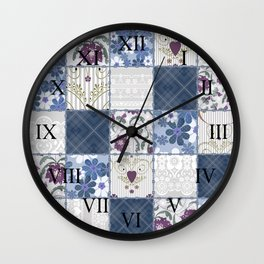 Patchwork  floral lace pattern background Wall Clock