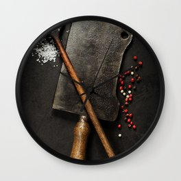old wooden spoon and Meat cleaver knife on dark background Wall Clock