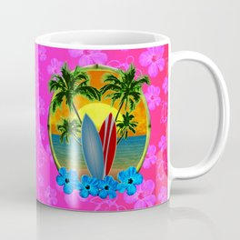 Pink Hibiscus Sunset And Surfboards Coffee Mug