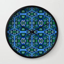 Stunning Deep Green and Blue Retro Geometric Wall Clock