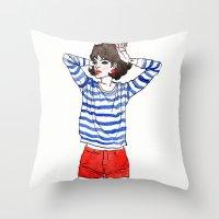 stripe Throw Pillows featuring Stripe by Megan Jeffs