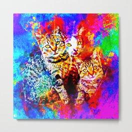cat trio splatter watercolor colorful background Metal Print
