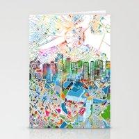 boston map Stationery Cards featuring boston city skyline map by Bekim ART