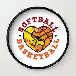 Softball Basketball Wall Clock