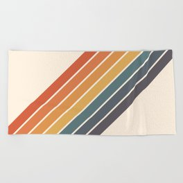 Arida -  70s Summer Style Retro Stripes Beach Towel
