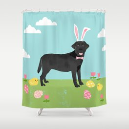 Black Lab labrador retriever dog breed pet art easter portrait costume spring Shower Curtain