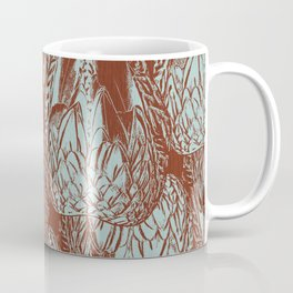 Duck Feather Back Graphic Teal and Brown Tile Coffee Mug