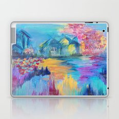 SOMEWHERE IN DREAMLAND - Simply Lovely Dream Village Blue Relax Christmas Abstract Serene Painting Laptop & iPad Skin