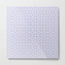 Periwinkle Purple Square Chain Pattern Metal Print