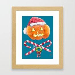 Pumpkin Santa Framed Art Print