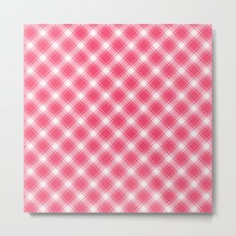 Pink Diagonal Plaid Pattern Metal Print