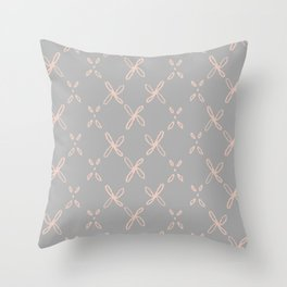 Pink & Gray Abstract Astral Pattern Throw Pillow