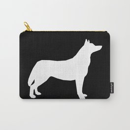 Husky dog pattern simple minimal basic dog silhouette huskies dog breed black and white Carry-All Pouch