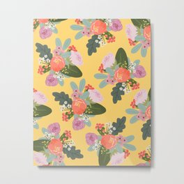 Peach and Yellow Floral Metal Print
