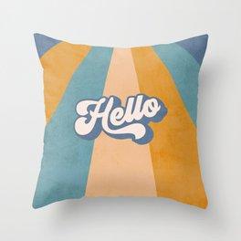 Retro 'Hello' Sunshine - Blue Throw Pillow