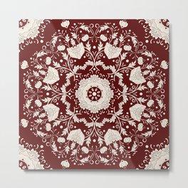 Red Floral Batik Metal Print