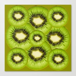 TROPICAL GREEN KIWI SLICED FRUIT MODERN ART Canvas Print