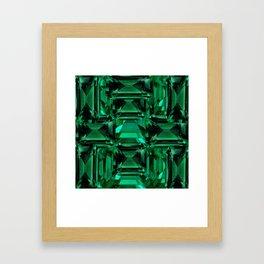 CLUSTERED FACETED EMERALD GREEN MAY GEMSTONES Framed Art Print