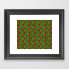 Red Poinsettia Plaid Framed Art Print