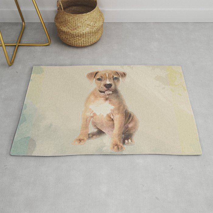 American staffordshire terrier puppy Sketch Paint Rug by k9printart