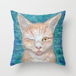 """;P ~ """"Seb the Groovy Cat"""" by Amber Marine ~ Watercolor & Acrylic Painting, (Copyright 2016) Throw Pillow"""