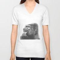 gorilla V-neck T-shirts featuring Gorilla by Nasir Nadzir
