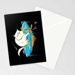 Flat Earth Cat Stationery Cards