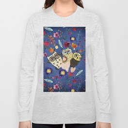3 Wise Owls in Flower Garden at Night Long Sleeve T-shirt