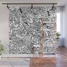 Lots of Bodies Doodle in Black and White Wall Mural