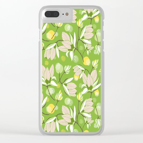 Magnolia Blossom Greenery Clear iPhone Case