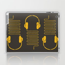 Gold Headphones Laptop & iPad Skin