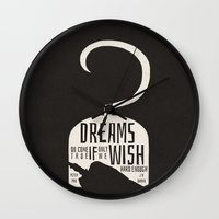 peter pan Wall Clocks featuring Peter Pan  by Abbie Imagine
