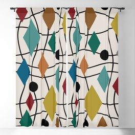 Colorful Mid Century Modern Geometric Abstract 124 Blackout Curtain