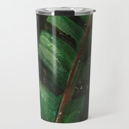 Another Day in Paradise // Tropical Plants Bird Flower Banana Palm Green Abstract Painting Jungle Travel Mug