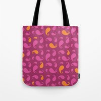 paisley Tote Bags featuring Paisley  by Poli Cunha