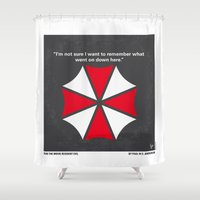 resident evil Shower Curtains featuring No119 My RESIDENT EVIL minimal movie poster by Chungkong