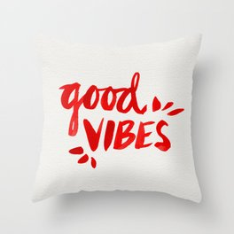 Good Vibes – Red Ink Throw Pillow