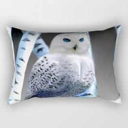 Blue-eyed Snow Owl Rectangular Pillow