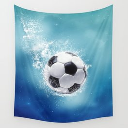 Soccer Water Splash Wall Tapestry