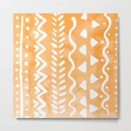 Loose boho chic pattern - orange Metal Print