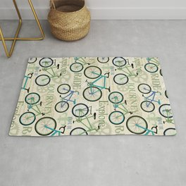 Bicycle Journey Blue Rug