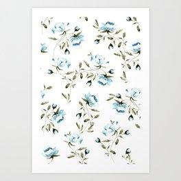 Peonies in White/Blue Art Print